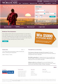 Worldcare Travel Insurance website